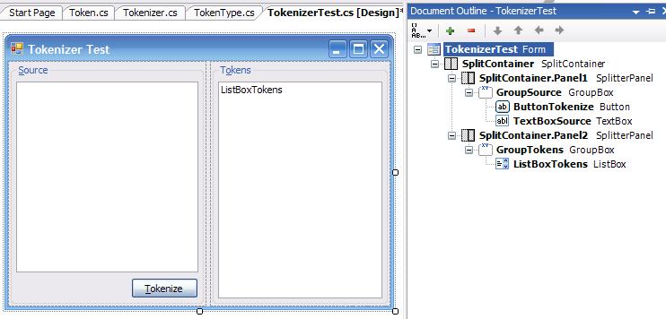 TokenizerTest designer screenshot